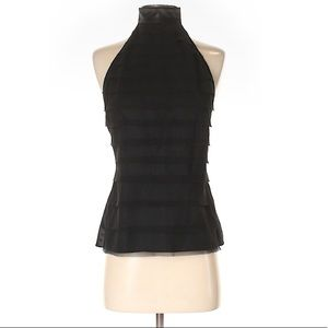 Alvin Valley Elegant Black Silk Backless Top